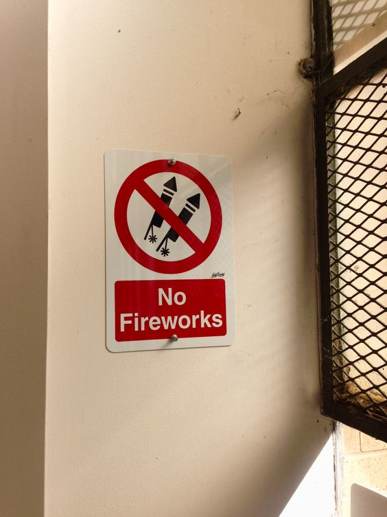'No Fireworks' sign #lichtworksprinting #signs #metalsigns #atlantamade #graphicdesign