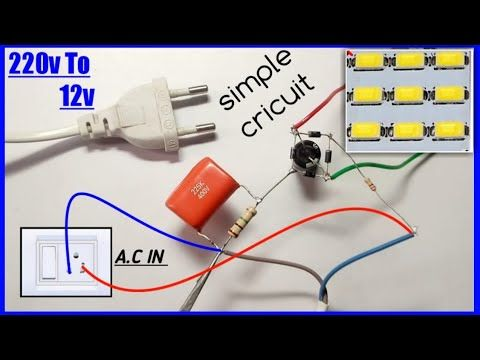 Convert 220v Ac To 12v Dc Use 225j Capacitor Transformer Less Power Supply Youtube In 2020 Electronics Mini Projects Electronics Basics Led Emergency Lights
