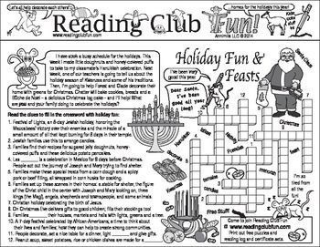 DECEMBER HOLIDAY & CHRISTMAS - themed Two-Page Activity Sets and a Christmas-themed puzzle with this discounted bundle! Includes the following products: • Holiday Food, Films, and Music Two-Page Activity Set • Santa's Workshop and Christmas Customs Two-Page Activity Set • Toys and Elves Holiday Puzzling Bookmarks