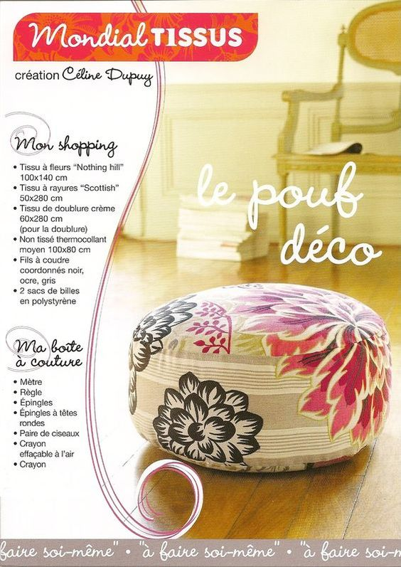 deco pouf tuto naaien pinterest creative poufs and couture. Black Bedroom Furniture Sets. Home Design Ideas