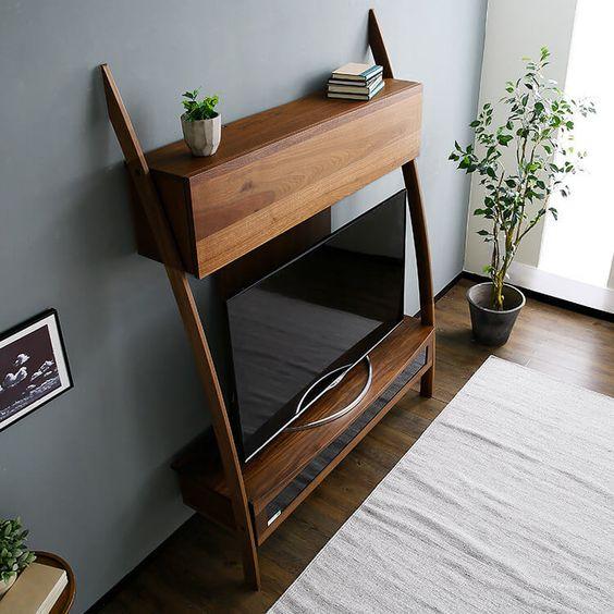 壁面収納テレビ台(ウォルナット)天然木突板使用の美しい曲線美 | 【公式】LOWYA(ロウヤ)|家具・インテリアのオンライン通販