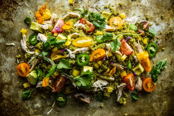 Southwestern Quinoa Chicken Salad with Cilantro Jalapeno Sauce