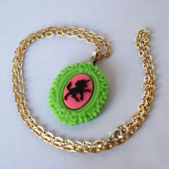 Green Unicorn Cameo Necklace