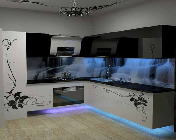 Amazing kitchen design with cool cold blue neon lights for Funky kitchen ideas