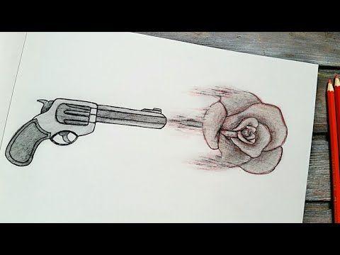 رسم سهل تعليم رسم وردة و مسدس سهل بطريقة سهلة وبسيطة Youtube Art Sketches Art Sketches