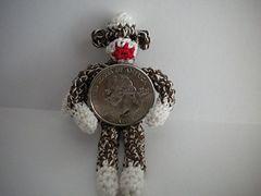 Sauerkraut the Sock Monkey mini, free pattern: Miniature Sock, Crochet Sock Monkeys, Sock Monkey Pattern, Crochet Pattern, Dollhouse Miniatures, Crochet Socks
