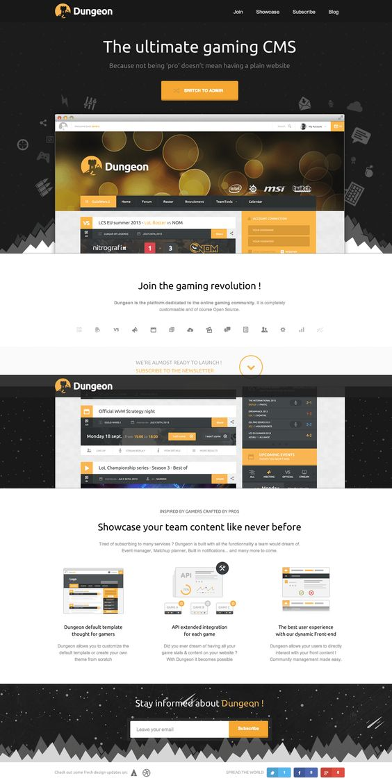 Parallax scrolling launching soon page for 'Dungeon' - an upcoming ...