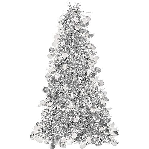 3d Silver Tinsel Christmas Tree Party City Tinsel Christmas Tree Silver Tinsel Christmas Tree Christmas Tree On Table