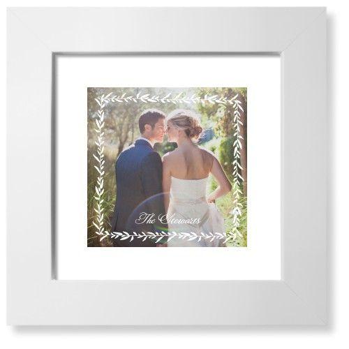 Foliage Frame Art Print, White, Pearl Shimmer Card Stock, 8x8, White
