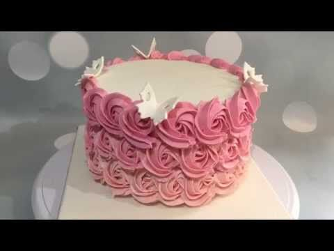 Tutorial layer cake roses - YouTube ~ tutoriel gâteau crème au beurre roses - papillon ~ butterfly - satin ice   Abonnez vous à ma chaîne YouTube ;)