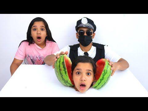 شفا تعلقت في البطيخة وسوسو والشرطي ساعدوها Youtube Hats Hard Hat Fashion