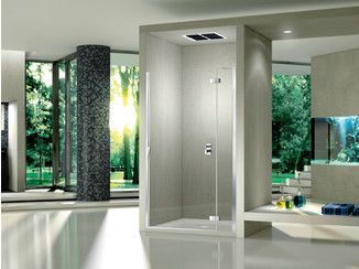Cabine de douche en niche en cristal avec porte battante PURA 5000 NEW   Cabine de douche en niche - DUKA