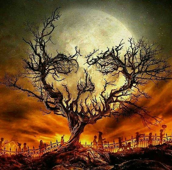 Samhain Art. Trick or Treating in the Autumn Moon Light.