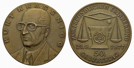 Krassnig, Kurt (1921-2008), Austrian coin collector from Oberrubach; medal 1977