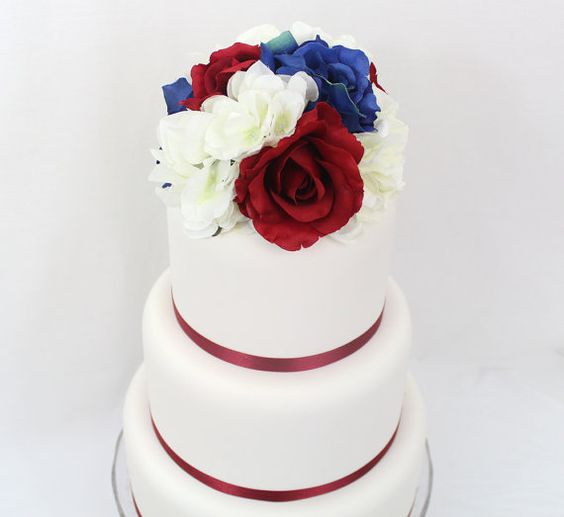 artificial flower wedding cake toppers wedding cake topper fourth of july blue silk 10843