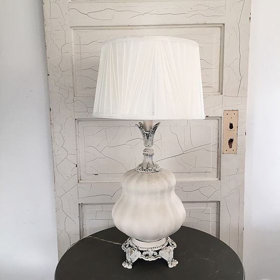 Tall French Table Lamp Shabby Chic Lamp With White Linen