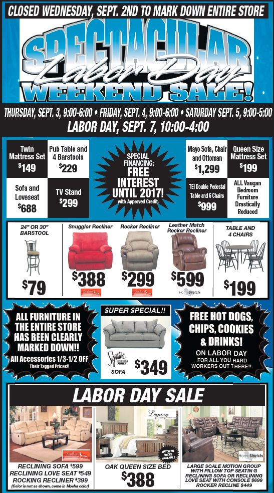 SPECTACULAR LABOR DAY WEEKEND SALE!!! | Monthly Furniture Sales Ads! |  Pinterest