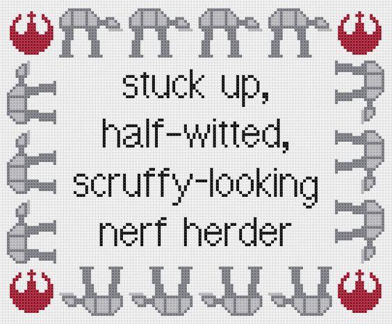Star Wars: Empire Strikes Back Princess Leia quote cross stitch sampler pattern. £2.30, via Etsy.