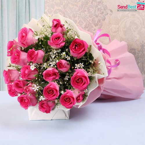 Send Pink Roses Bouquet 50 Flowers On Same Day Buy 50 Pink Roses Bouquet Online In 2020 Flower Bouquet Delivery Online Flower Delivery Flower Delivery