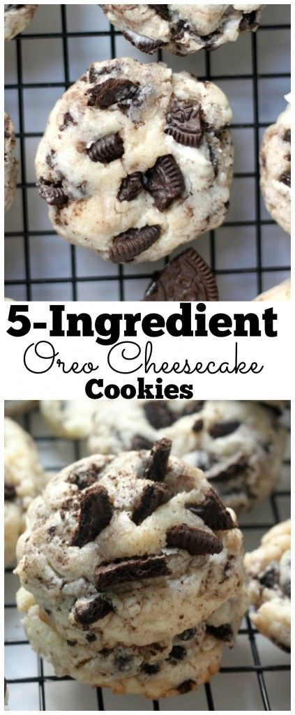 5 Ingredient Oreo Cheesecake Cookies - So much flavor packed in these soft and chewy cheesecake cookies!