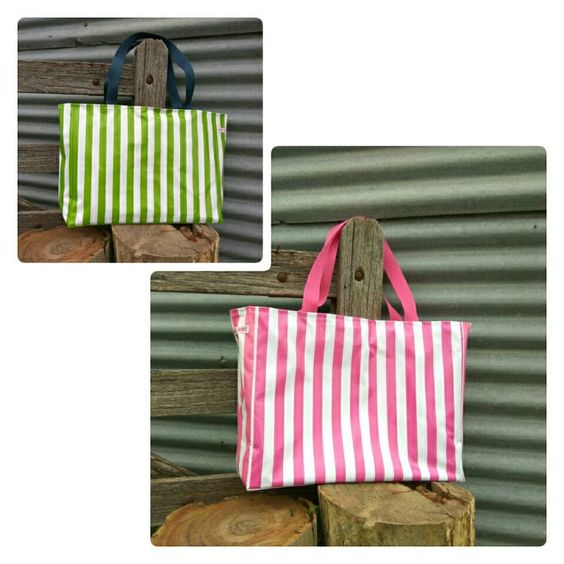 large bags in pink stripe or green stripe oilcoth $69