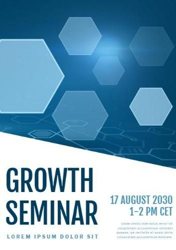 Shapes Blue Growth Seminar Conference Poster Template With Shapes