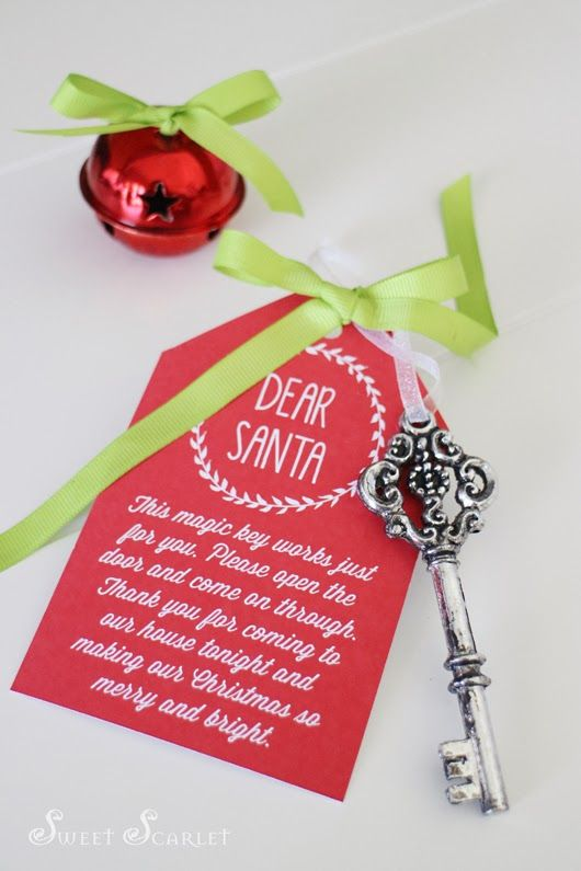 "FREE Printable: Santa's Magic Key: ""Dear Santa, This magic key works just for you. Please open the door and come on through. Thank you for coming to our house tonight and making our Christmas merry and bright."""