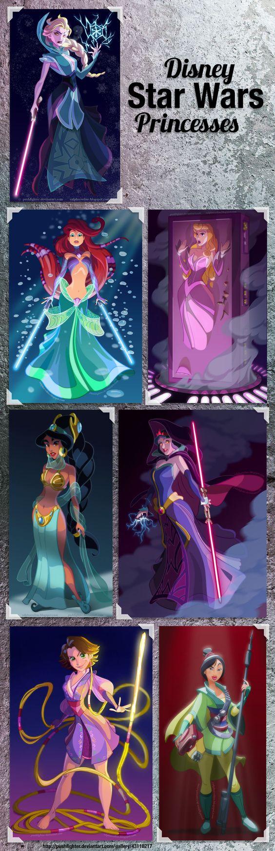 [Disney Star Wars Princesses] - artwork from http://pushfighter.deviantart.com/gallery/43110217