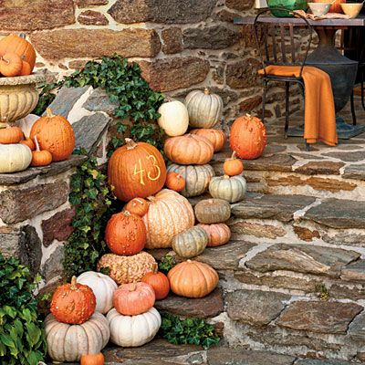 Announce your address in style by cleverly etching your house number (or your initials or name) into a pumpkin. | SouthernLiving.com