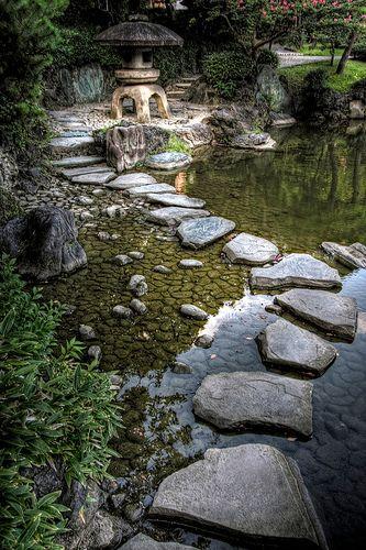 stepping stones and lantern, serene