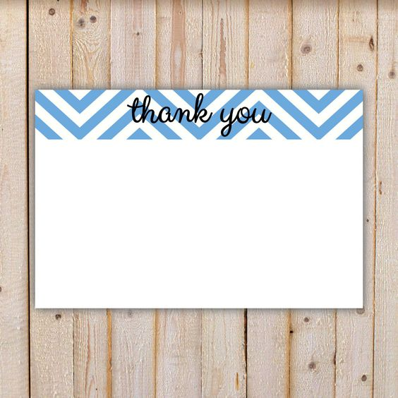 Chevron Thank You Note - Blue by doodlingpeapod on Etsy https://www.etsy.com/listing/238336135/chevron-thank-you-note-blue
