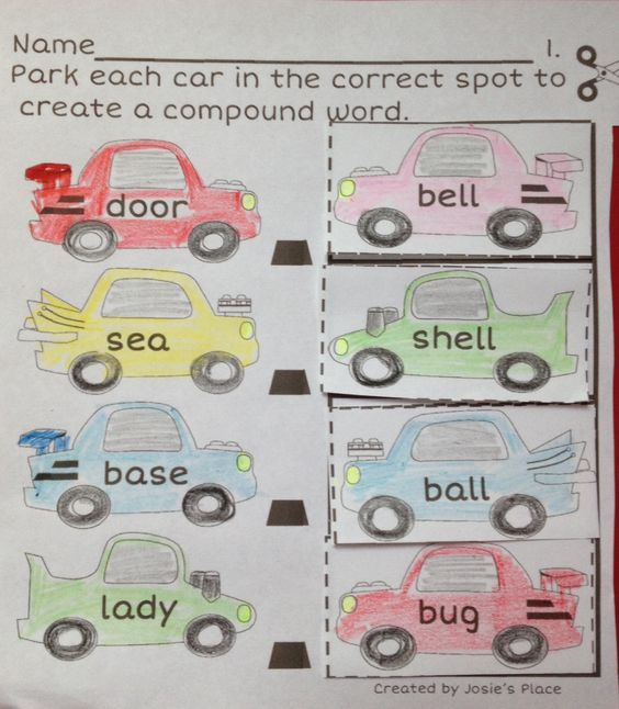 Great practice for learning compound words with race cars! Center included!