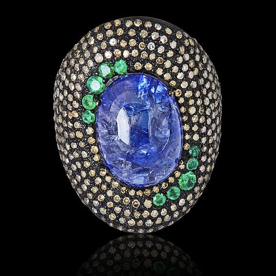Color Me Happy Emerald, Tanzanite, Diamond Ring - JYOTI  #color #happy #emerald #tanzanite #diamond #ring #designer #JYOTI #couture #jewelry