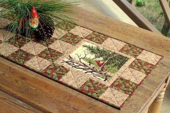 Winter Table Runner Quilted Table Runner by RedNeedleQuilts
