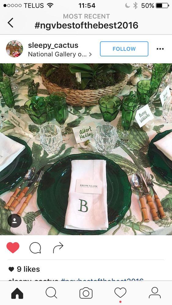 Greens table setting