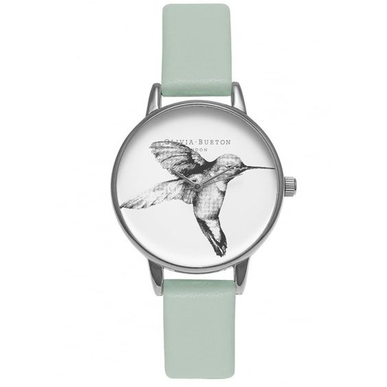 Olivia Burton Animal Motif Hummingbird Watch - Mint & Silver ($100) ❤ liked on Polyvore featuring jewelry, watches, silver jewelry, leather strap watches, animal print watches, snap button jewelry and mint watches