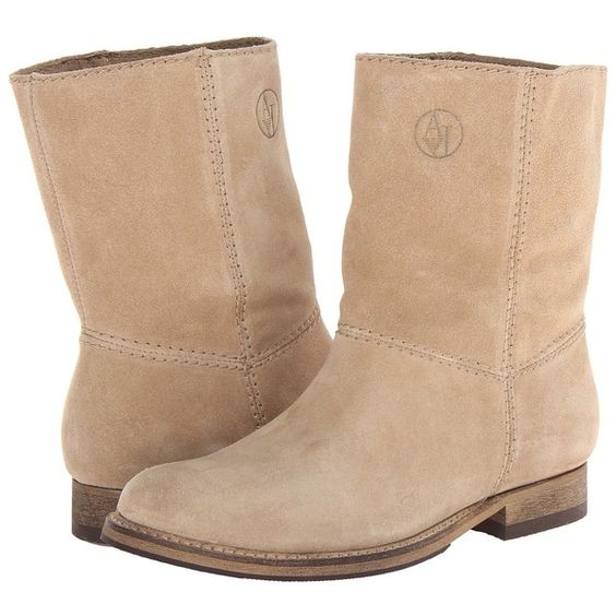 Armani Jeans Suede Short Boot (715 MYR) ❤ liked on Polyvore featuring shoes, boots, ankle booties, beige suede, beige suede booties, faux suede booties, short suede boots, suede ankle booties and faux suede boots