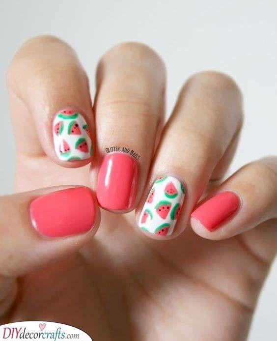 Tiny Watermelons Adorable Summer Nails Watermelon Nail Art Fruit Nail Designs Nail Art Summer