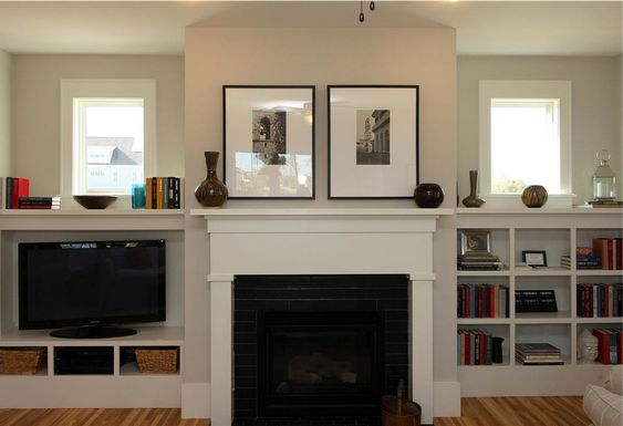 Fireplaces built ins and tvs on pinterest for Craftsman gas fireplace