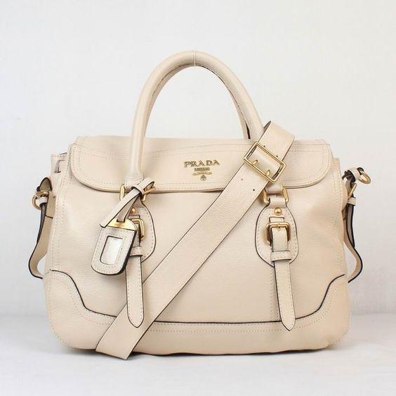 prada zipper pouch - PD0123 Prada Leather Shoulder bag Beige 8828http://www ...