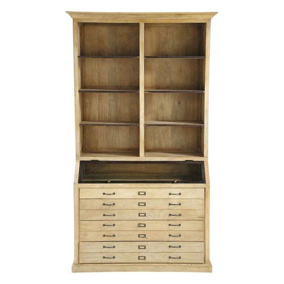 Bücherregal aus Mangoholz, B 130cm Naturaliste