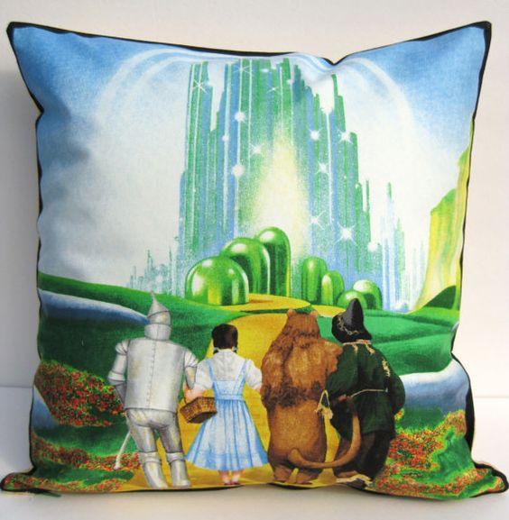 "Wizard of Oz - blue - Yellow Brick Road - 16"" Decorative Pillow Cover Cushion"