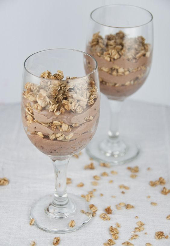 Chocolate Almond Butter Yogurt Granola Parfaits Recipe makes a healthy breakfast or skinny dessert.