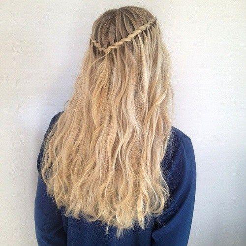 40 Flowing Waterfall Braid Styles Waterfall Hairstyle Long Hair Styles Waterfall Braid With Curls