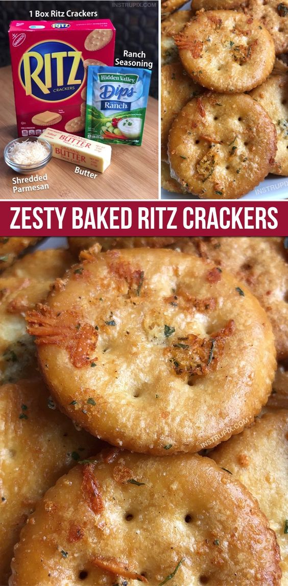 Addicting! My kids love this fun snack idea. (Parmesan Ranch Baked Ritz Crackers)
