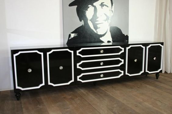 black and white retro credenza