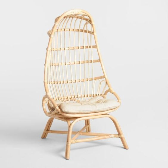Natural Rattan Fallon Cocoon Chair with Cushion - v1