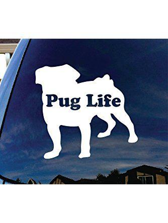 "Pug Life Puppy Car Window Vinyl Decal Sticker 4"" Wide ❤ ..."