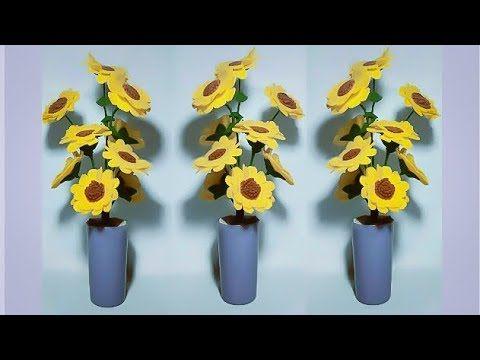 Cara Membuat Bunga Matahari Dari Kain Flanel Youtube Bunga