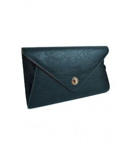 """Hand held Classic Black envelope design clutch 14"""" Wide also changeable to a crossbody."""